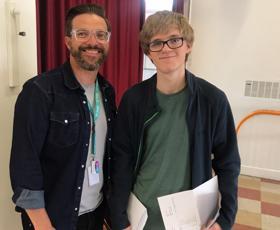 Wayland Principal Glen Allott with Sam Lucas